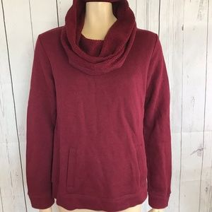 J. Crew Funnel cowl neck sweatshirt Wine top shirt